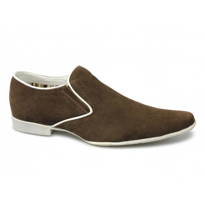 Lucini PRIMO Mens Suede Chisel Toe Casual Loafers Tan