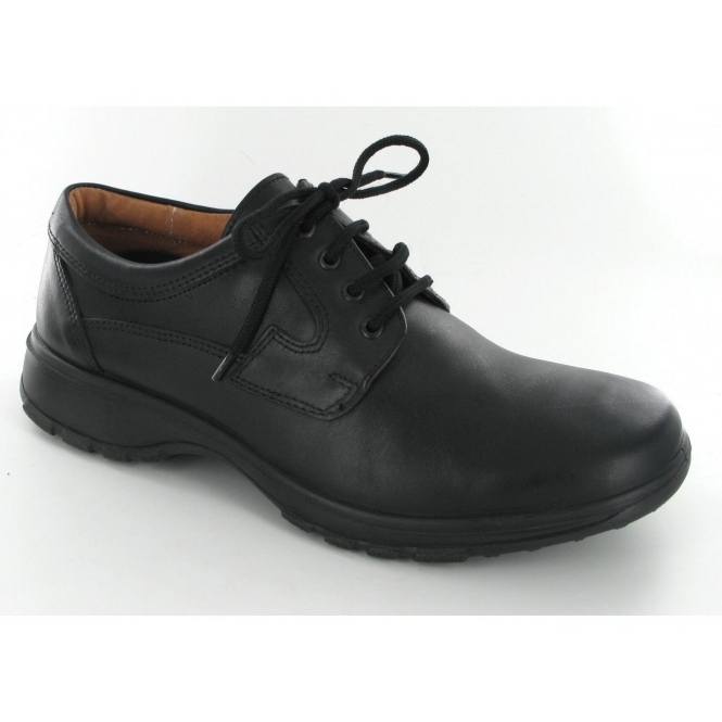Shuperb Mens Leather Lace Up Wide Fit Shoes Black
