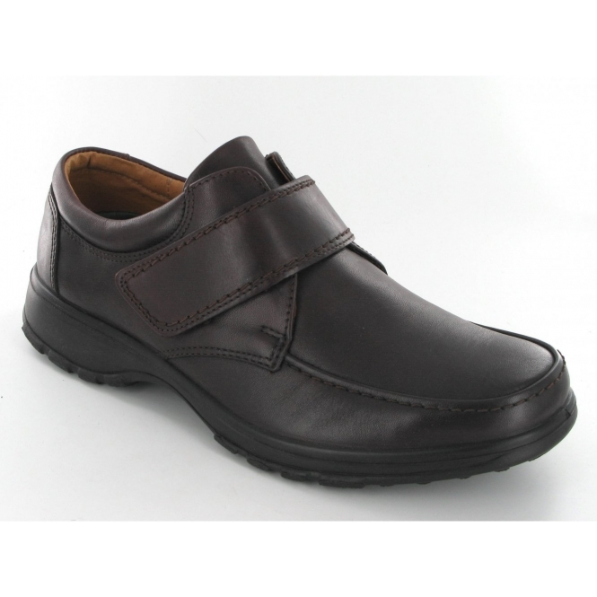 Shuperb Mens Leather Velcro Padded Shoes Brown