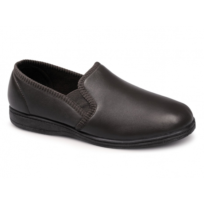 Sleepers HADLEY Mens Leather Full Slippers Brown