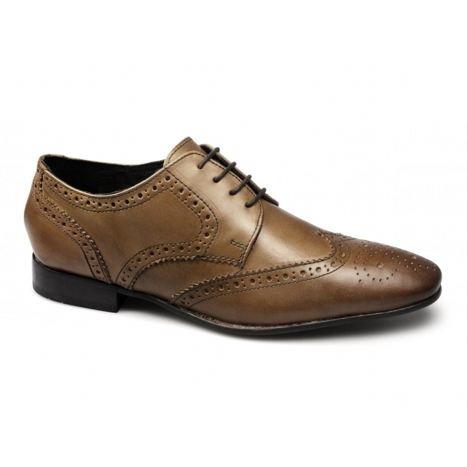 Ikon STATHAM Mens Leather Lace Up Brogue Shoes Tan