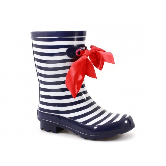 Cotswold GATCOMBE Ladies Bow Wellington Boots Navy/White Striped