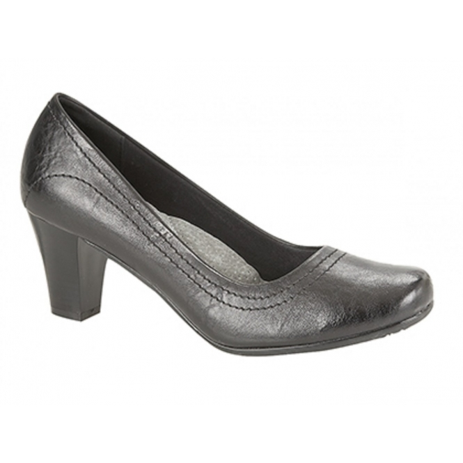 Boulevard HERA Ladies Block Heel Court Shoes Black