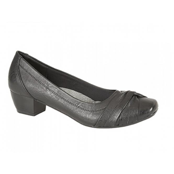 Boulevard ALISA Ladies Low Block Heel Court Shoes Black