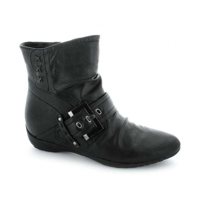 Natrelle ELAINE Ladies Faux Leather Zip Buckle Boots Black