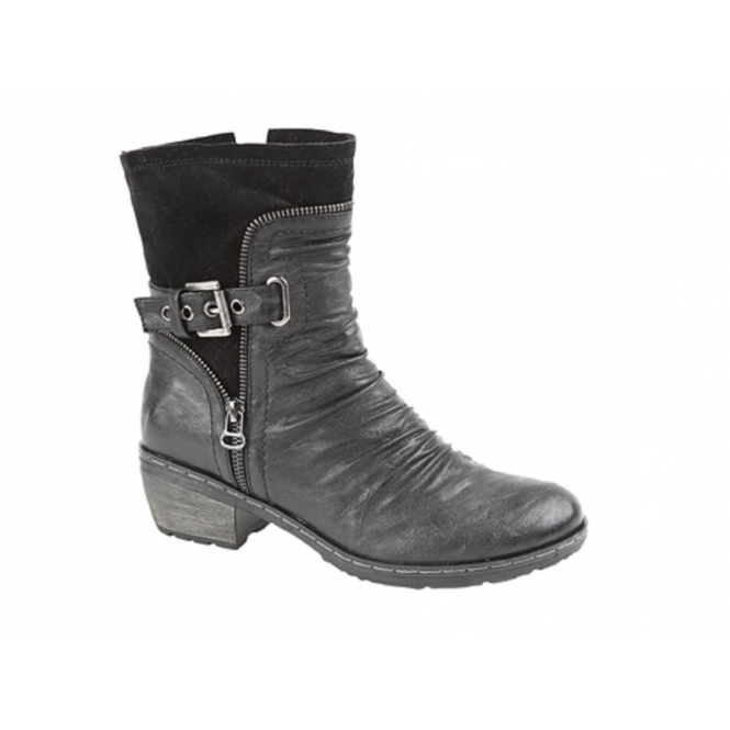Cats Eyes LOIS Ladies Ruched Faux Leather Suede Buckle Boots Black