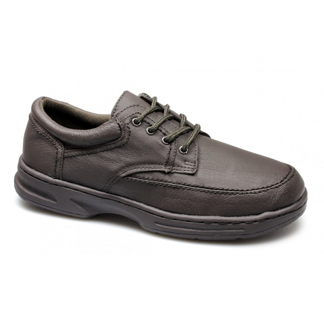 Dr Keller BRIAN Mens Leather Lace Up Wide Fit Shoes Brown