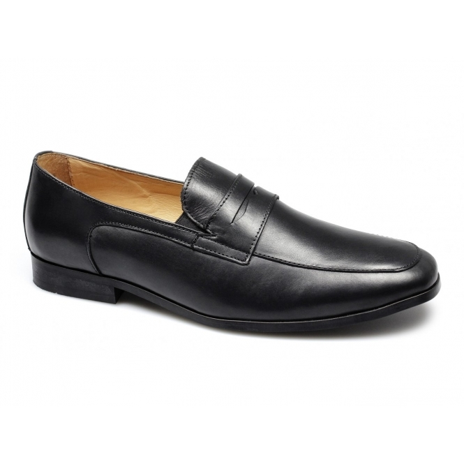 Lucini HUGO Mens Leather Chisel Toe Penny Loafers Black