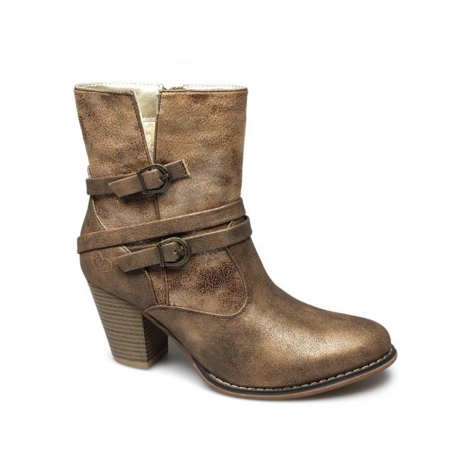 Fabulous Fabs MAISIE Ladies Oily Faux Leather Buckle Zip Boots Cognac