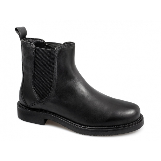 lucini mens soft leather pull on chelsea boots black buy