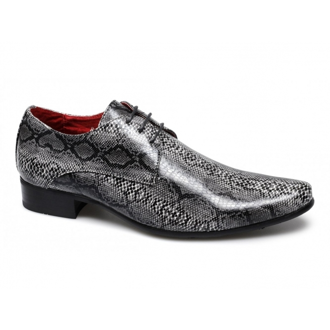 Rossellini BRENZONE Mens Faux Snakeskin Lace-Up Shoes Black