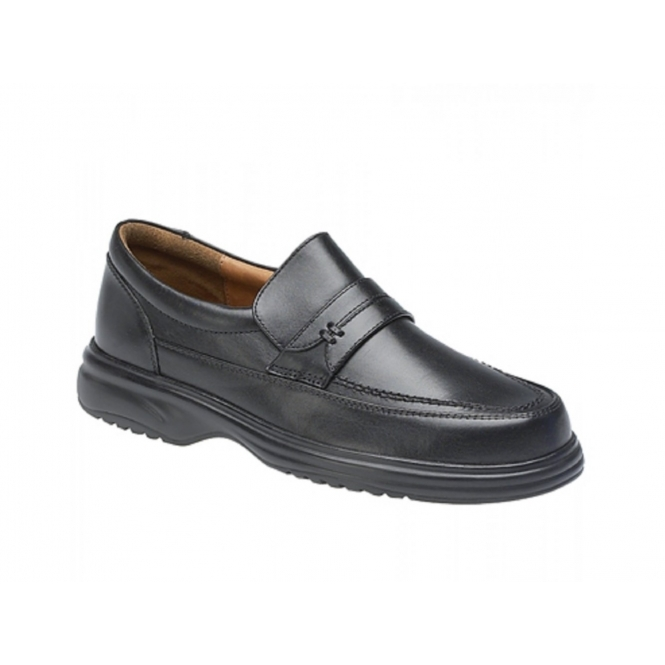 Roamers MITCH Mens Leather Wide Fit Penny Loafers Black