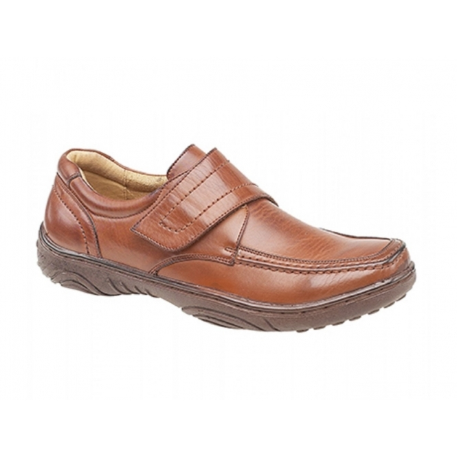 Smart'uns KAIL Mens Faux Leather Velcro Bar Loafers Tan