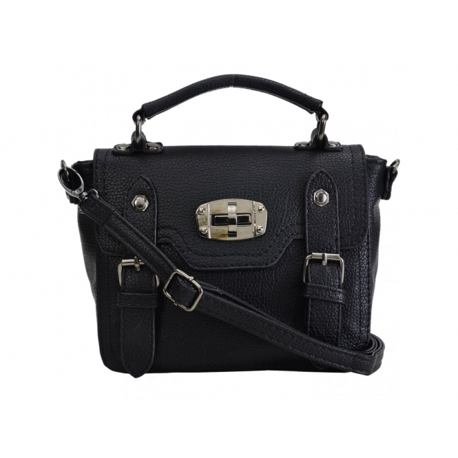 Faye London Ladies Buckle Twist Lock Shoulder Satchel Mini Bag Black
