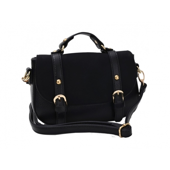 Faye London Ladies Buckle Shoulder Classic Satchel Mini Bag Black