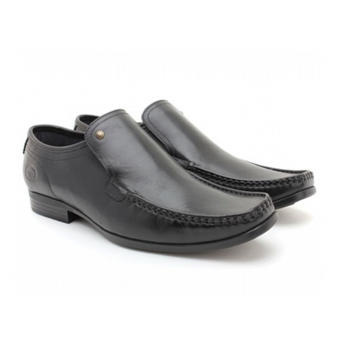 Base London CARNOUSTIE Mens Leather Moccasin Loafers Waxy Black