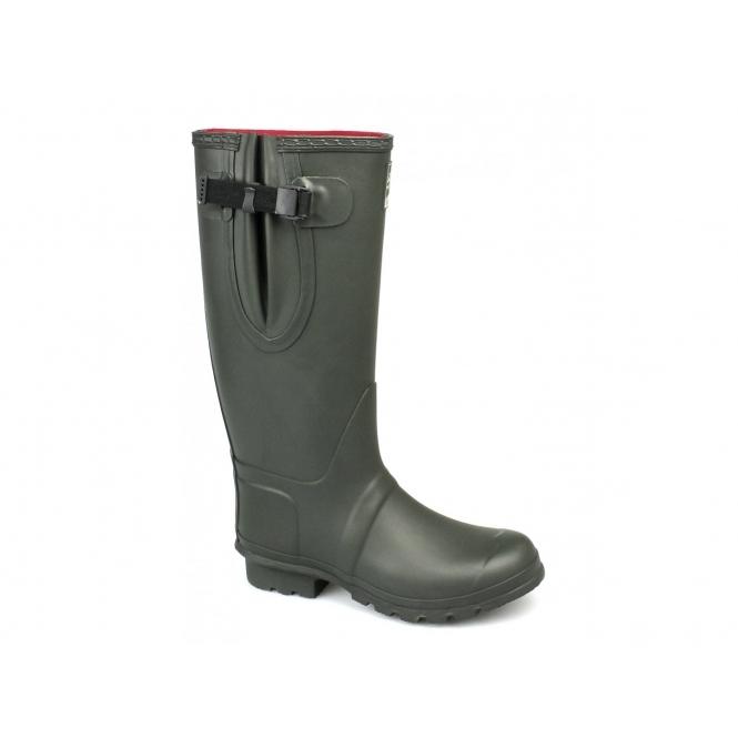 Woodland NEOPRENE Gusset Unisex Buckle Wellington Boots Olive Green