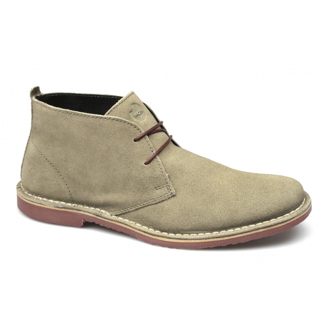 Ikon A.K. Mens Suede Lace-Up Desert Boots Taupe