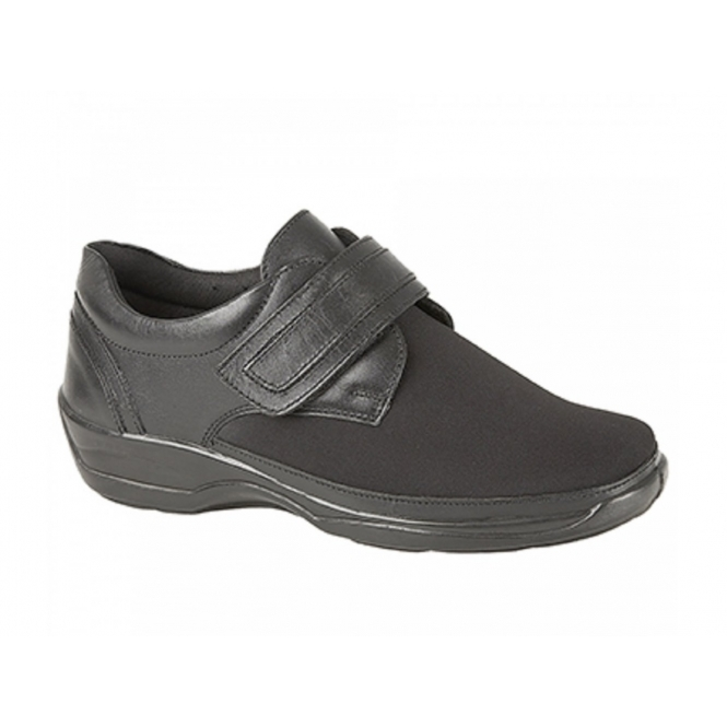 Mod Comfys ABBEY Ladies Leather Velcro Wide EEE Fit Shoes Black