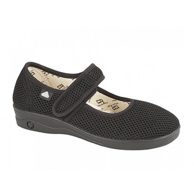 Celia Ruiz IVY Ladies Extra Wide EEE Fit Velcro Sandals Black