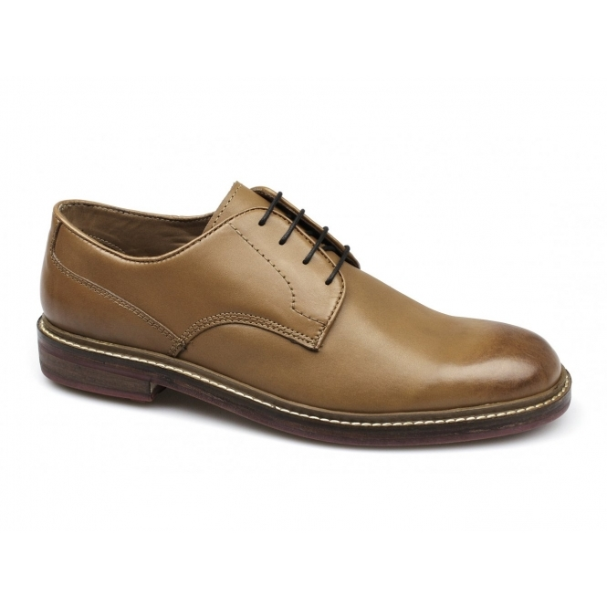 Lucini SOREN Mens Leather Wide Fit Lace-Up Shoes Tan