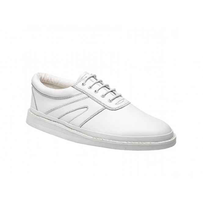 DEK LEVEN Unisex Leather Lace-Up Bowling Shoes White