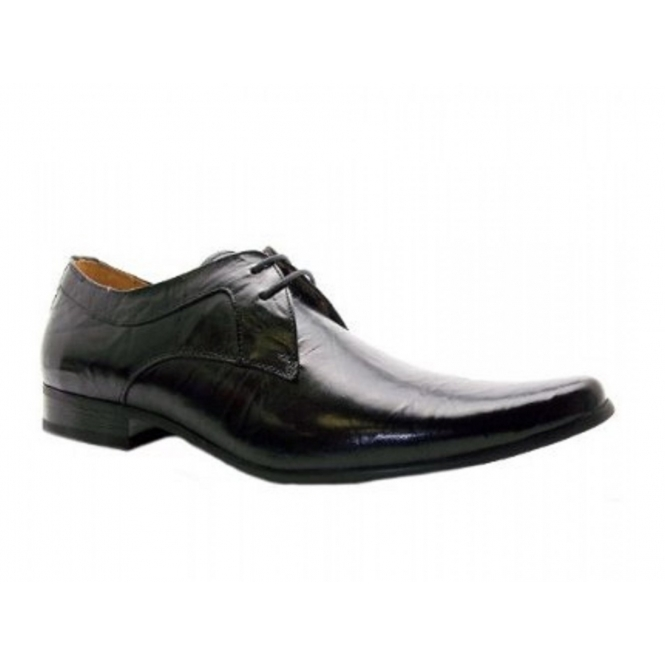 Front ROSSI II Mens Leather Lace Up Shoes Black
