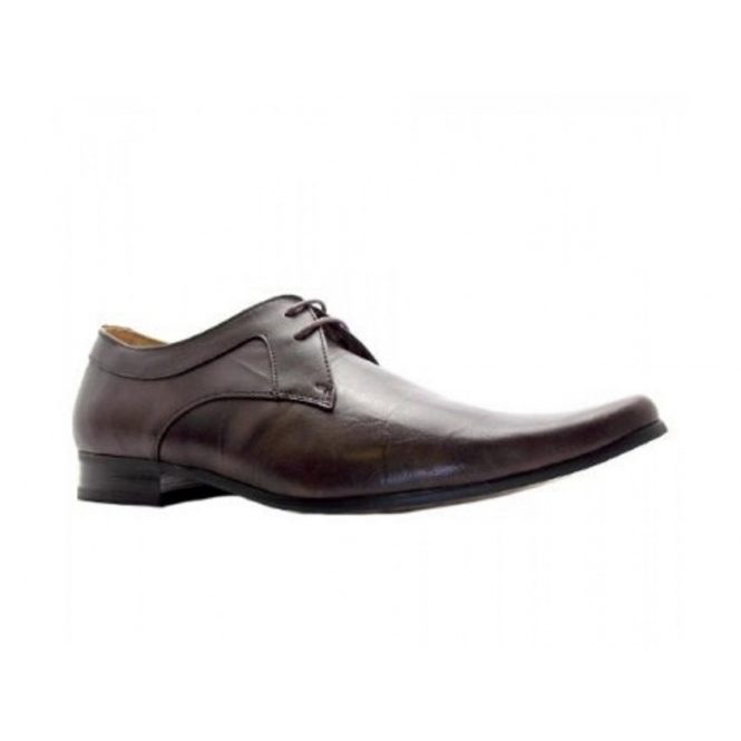 Front ROSSI II Mens Leather Lace Up Shoes Brown