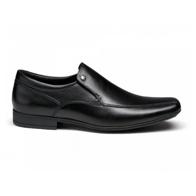 Front BELMONT Mens Leather Tramline Loafers Black