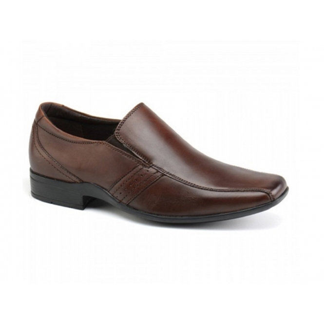 Front CRADDOCK Mens Leather Chisel Slip-On Shoes Brown