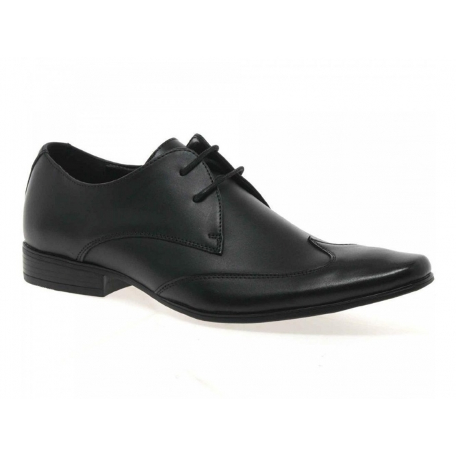 Front MILAN Mens Leather Chisel Toe Wingtip Shoes Black