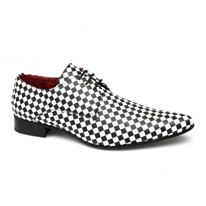 Rossellini ALBERTO Mens Checkerboard Pointed Shoes Black/White