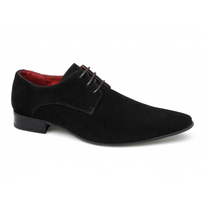 Rossellini AZZURRA Mens Faux Suede Pointed Shoes Black