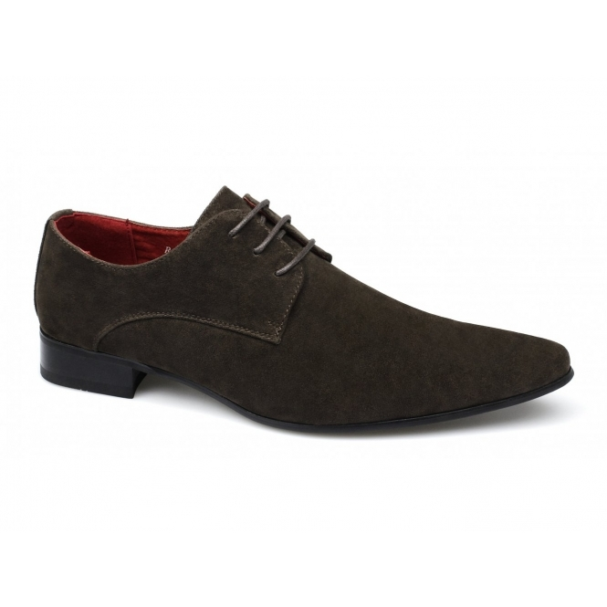 Rossellini AZURRA Mens Faux Suede Pointed Shoes Brown