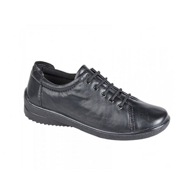 Mod Comfys LINDSAY Ladies Leather Lace-Up Padded Shoes Black