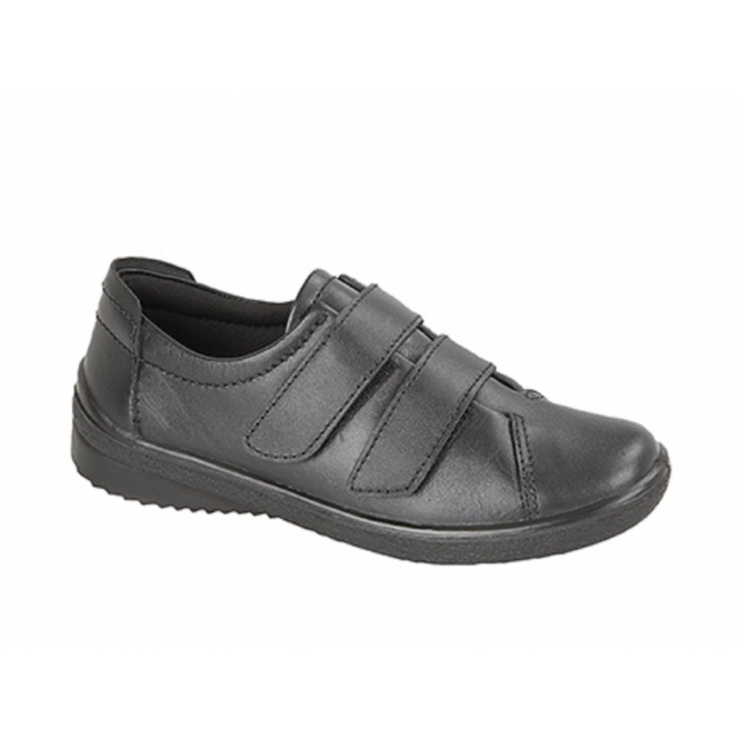 Mod Comfys ROSANNA Ladies Leather Touch Fasten Padded Shoes Black