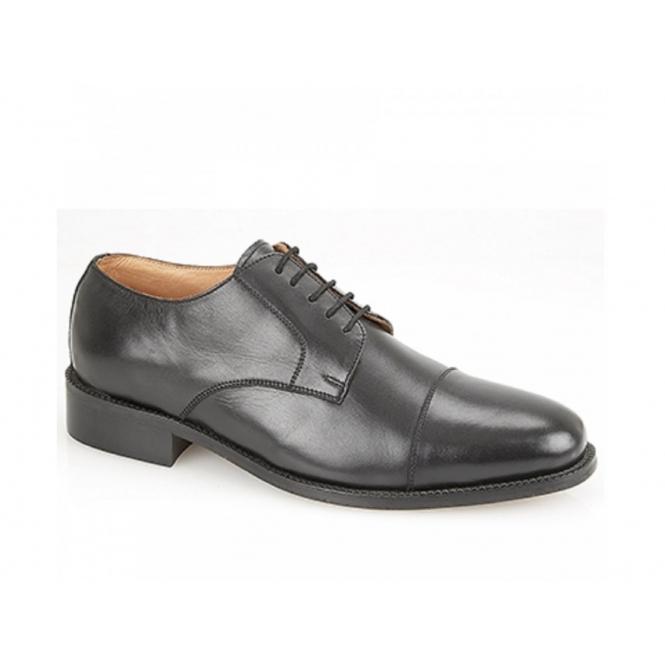 Kensington CLYDE Mens Leather Lace Up Cap Gibson Shoes Black