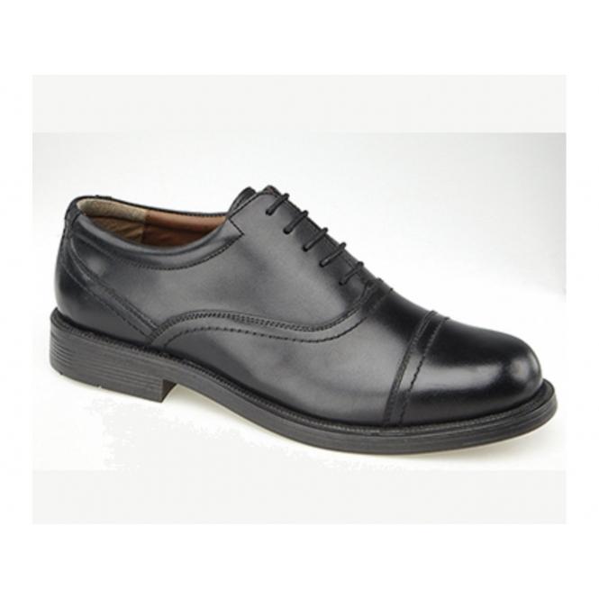 Scimitar ALTON Mens Leather Lace Up Cap Oxford Shoes Black