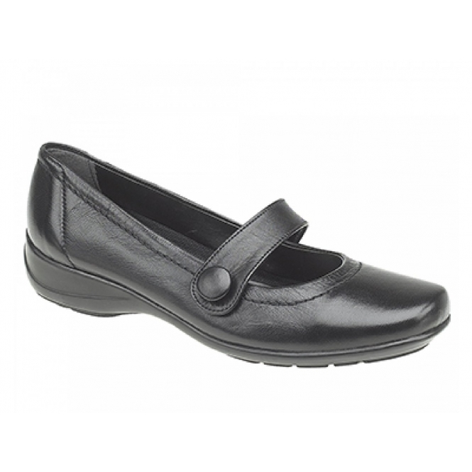 Mod Comfys MALINDA Ladies Button Mary Jane Flat Shoes Black