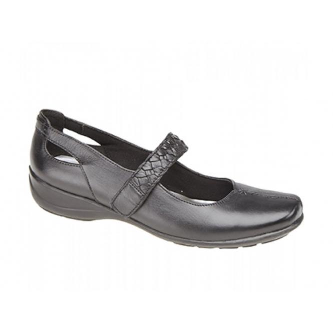 Mod Comfys SASKIA Ladies Leather Velcro Mary Jane Flat Shoes Black