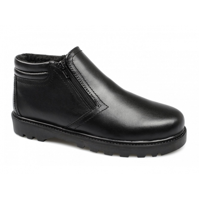 Dr Keller BILLY Mens Warm Lined Wide Twin Zip Boots Black
