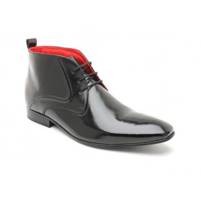 Base London NEEDLE Mens Hi Shine Leather Chukka Boots Black