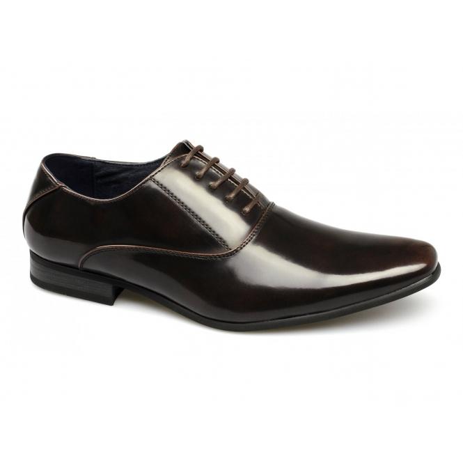 Route 21 HENDRICK Mens Faux Patent Lace-Up Shoes Brown