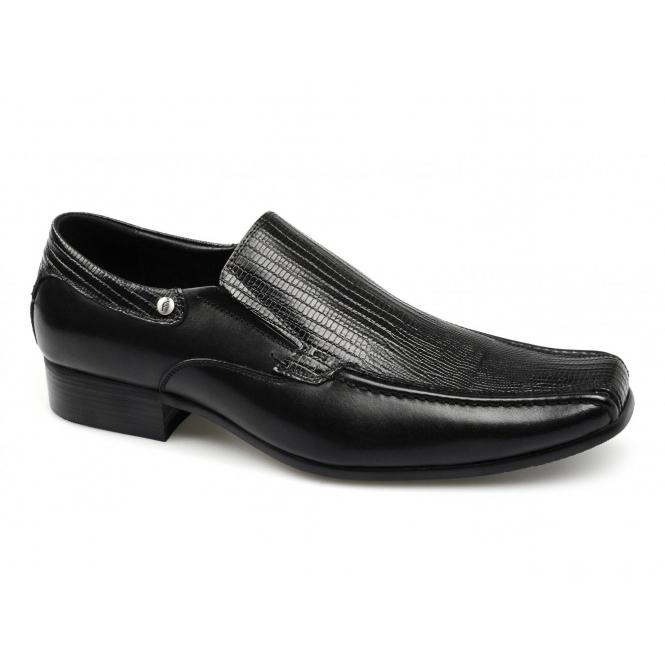 Front ALKEN Mens Croc Leather Slip On Shoes Black