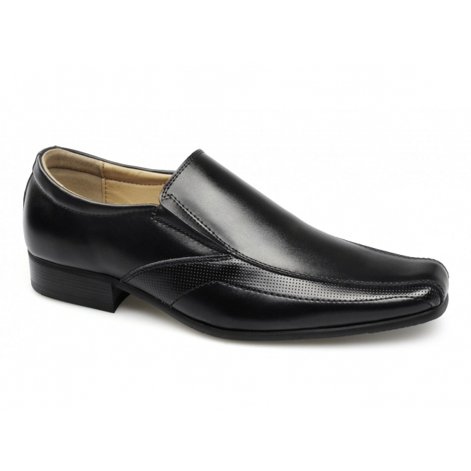 Front ANDOVER Mens Leather Tramline Slip On Shoes Black