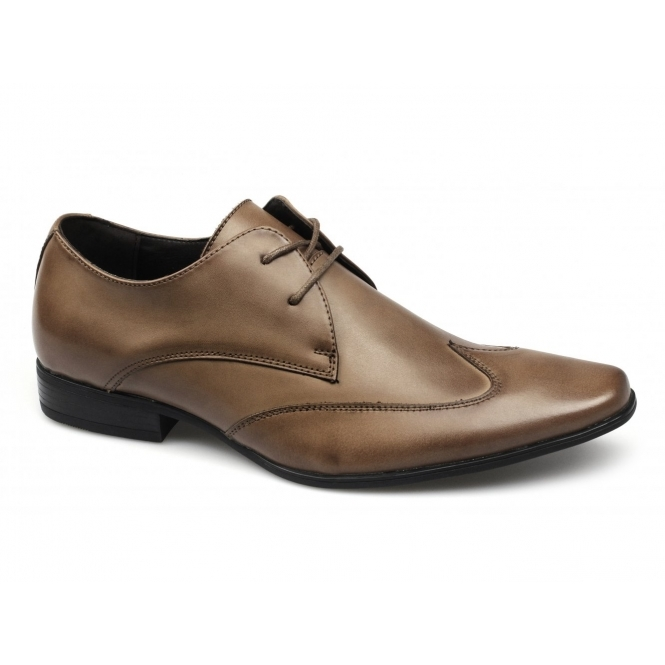 Front MILAN Mens Leather Chisel Toe Wingtip Shoes Tan