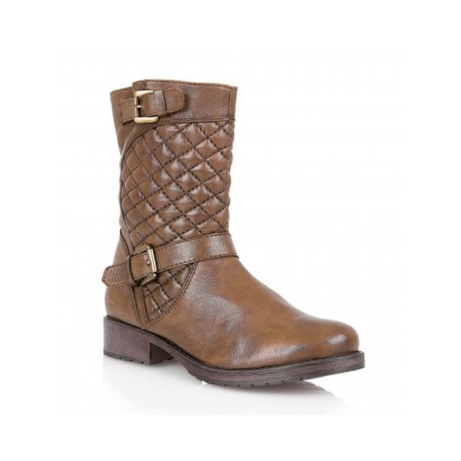 Lotus CONROE Ladies Leather Quilted Mid-Calf Boots Tan