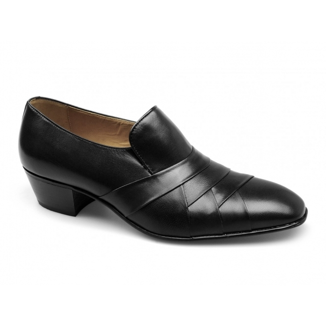 Paco Milan FRANCISCO Mens Leather Pleated Cuban Heel Shoes Black