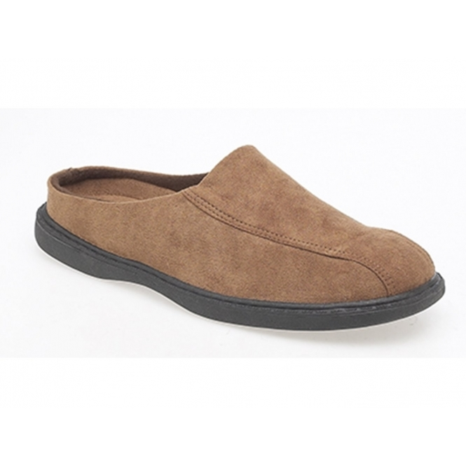 Zedzzz JARROW Mens Faux Suede Mule Slippers Brown