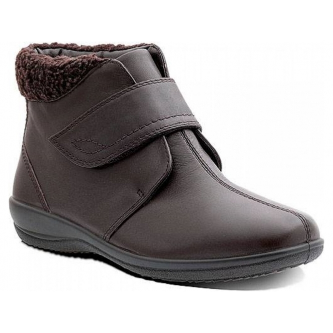 Padders IDA Ladies Leather Warm Velcro Wide EE/EEE Boots Brown
